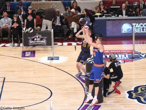 スキルズチャレンジはニックスのポルジンギスが優勝、ヘイワードとの決勝戦に競り勝つ
