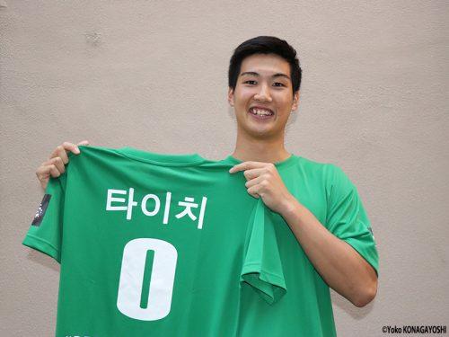 日本人初のKBL選手として開幕を迎える原州DB中村太地。「今は早く試合がしたい!」